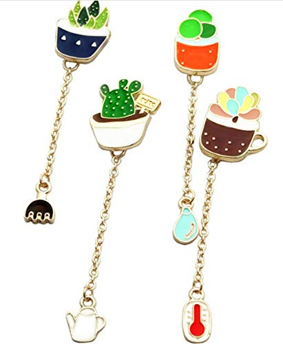 S-WAY 4pcs Green Plants Succulent Cactus Aloe Flower Lovely Enamel Jewelry brooches