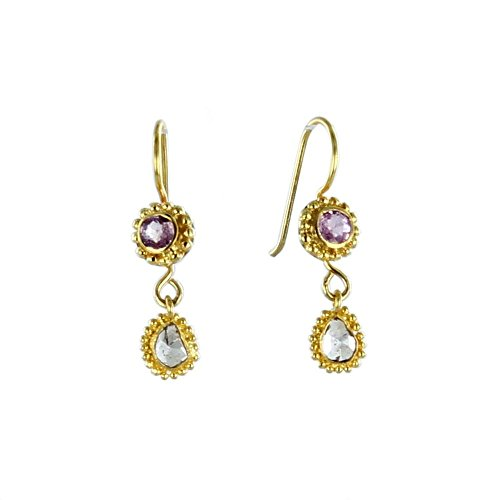 - 18K GOLD DIAMOND and PINK TOURMALINE FACETED EARRINGS