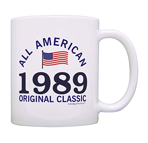 30th Birthday Gifts For All 1989 All American Flag Classic Patriotic Gift Coffee Mug Tea Cup White