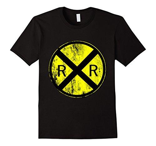 Railroad Street Sign (Mens Railroad Crossing Train Sign T-shirt Large Black)