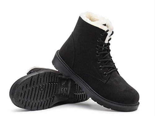 YCMDM Snow Boots inverno Martin Stivali Donne più velluto scarpe caldo cotone impermeabile grigio beige nero Brown 39 36 35 38 40 37 , black , 39