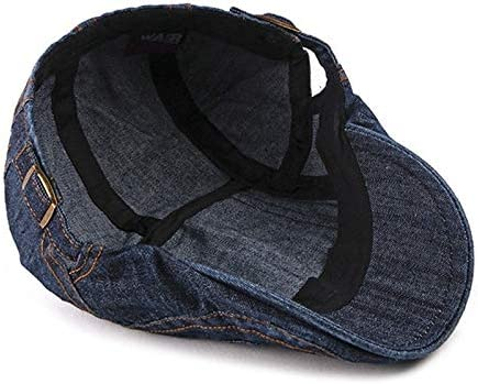 Centenarios Mens and Womens New Washed Denim Beret Fashion Casual Motorcycle Beret Color : 03