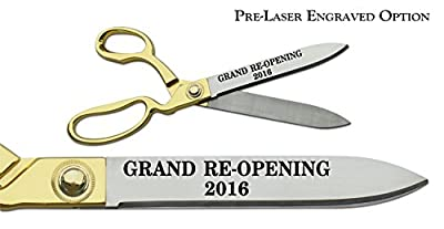 "Pre-Laser Engraved ""GRAND RE-OPENING 2016"" 10 1/2"" Gold Plated Handles Ceremonial Ribbon Cutting Scissors"