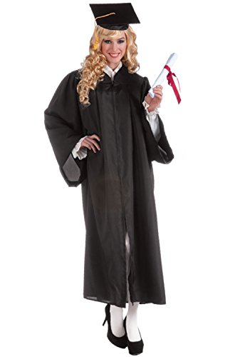 College Funny Halloween Costumes (Forum Novelties Women's Costume Graduation Robe, Black, One Size)