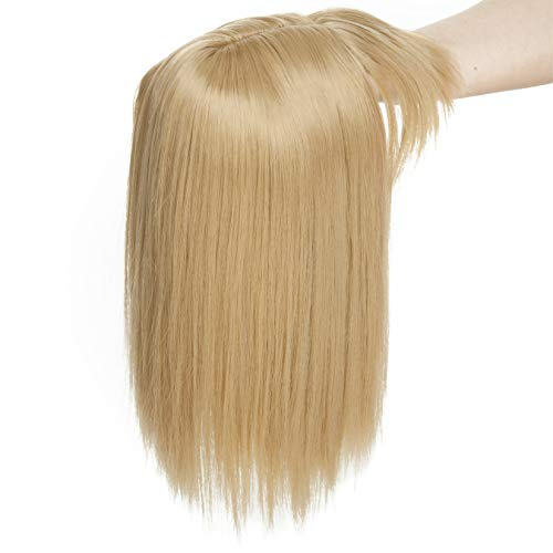 11 Inches Long Straight Clip In Crown Toppers For Women Synthetic Top Toupee Hairpiece With Wispy Thin Air Bangs Middle Part With Thinning Hair Loss Hair (Ash Blonde)