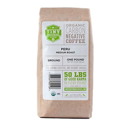 Tiny Footprint Coffee - The World's First Carbon Negative Coffee | Organic Peru APU Medium Roast, Ground Coffee | 16 Ounce