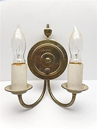 Awe Inspiring Brass Gold Tone Wall Sconce Double Candle Stick Push On Off Button Wiring Digital Resources Antuskbiperorg