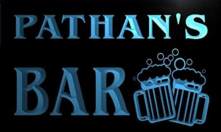 w063070-b PATHAN Name Home Bar Pub Beer Mugs Cheers Neon