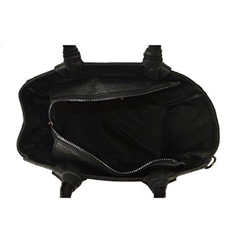véritable de cuir main avec 24x18x14 Cm sac Noir petit en bandoulière à en L'embrayage fabriquée femme la CTM Italie 5C0qxavwza