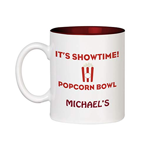 Personalized Microwave Popcorn - Personalized Custom Text Food It's Showtime Popcorn Bowl Ceramic Inner Color Cup Coffee Mug - Red
