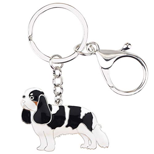 WEVENI Enamel Metal Cavalier King Charles Spaniel Dog Key Chains Rings Anime Jewelry For Women Girls Bag Charms Keychain (Grey)