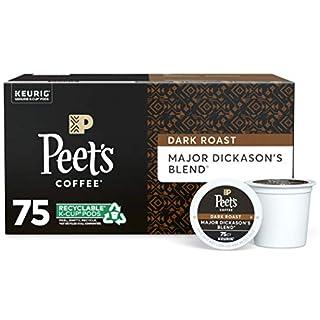 Peet's Coffee Major Dickason's Blend, Dark Roast, 75 Count Single Serve K-Cup Coffee Pods for Keurig Coffee Maker, Black
