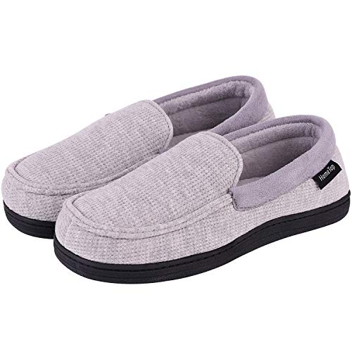 (HomeTop Women's Comfy Memory Foam Moccasin Slippers Breathable Cotton Knit Terry Cloth House Shoes w/Anti-Skid Sole (8 B(M) US, Gray))