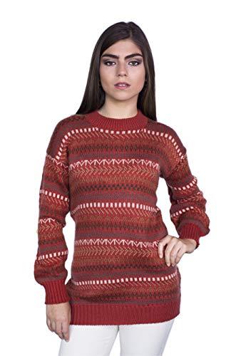 (Raymis Peruvian Women´s Hand Knit Alpaca Geometric Crew Neck Sweater (Red, Medium))