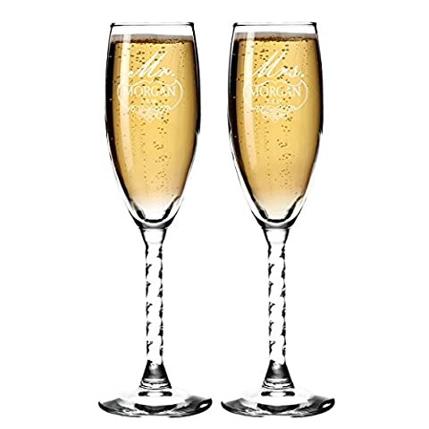 Set of 2 Personalized Wedding Champagne Flutes- For Any Venue-Mr and Mrs Design – Engraved Flutes for Bride and Groom…