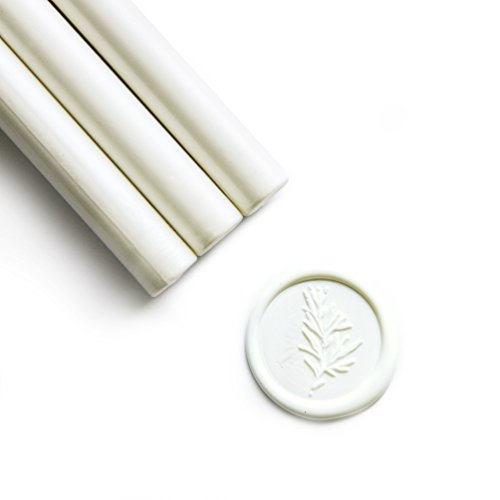 UNIQOOO Mailable Glue Gun Sealing Wax Sticks for Wax Seal Stamp - Snow White, Great for Wedding Invitations, Cards Envelopes, Snail Mails, Wine Packages, Gift Ideas, Pack of 8]()