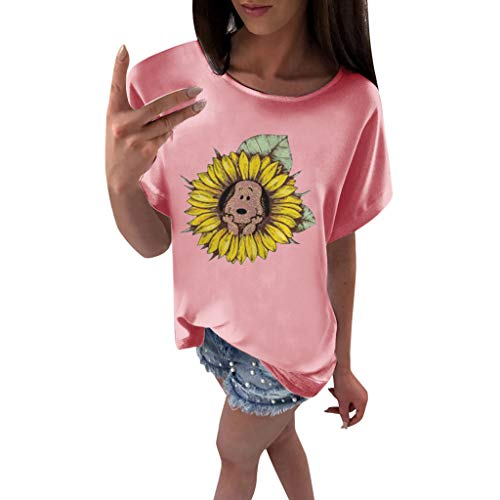 Tantisy ♣↭♣ Women's Sunflower Print Summer Short Sleeve Soft Comfortable T Shirt Tops and Funny Dog Pink