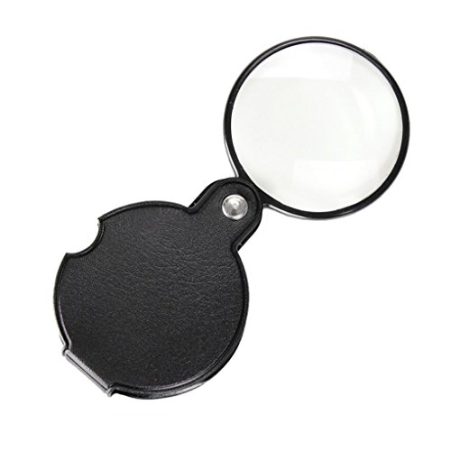 60mm Magnifiers (Pocket Folding Mini 10X Magnifying 60 MM Diameter Magnifier Bigeye Glass Lens Loupe with Rotating Protective Holster for Reading Aid Maps Photographs Documents, Black, Free PU Leather Pouch Case)