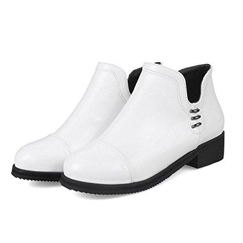Extra White Bootie Size 6009 Fashion Women's TAOFFEN Zipper 7q6YwIH7R