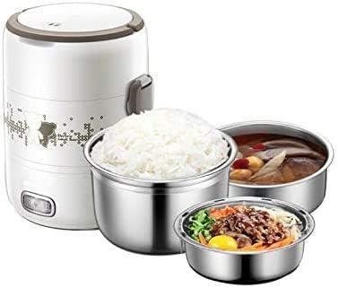 弁当箱ポータブルスチームパワー、熱加熱調理する食品は、取り外し可能なステンレス製のインサートを有する米の鍋の食事を調理するための3台の主要機器を持っています