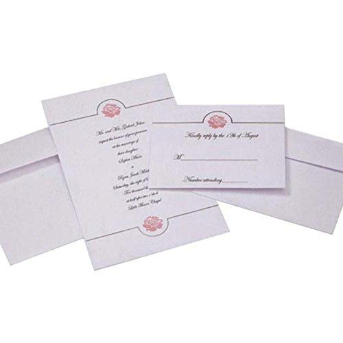 Wilton 1008-8955 White Embossed Floral Invitation Kit for Wedding, 50-Pack