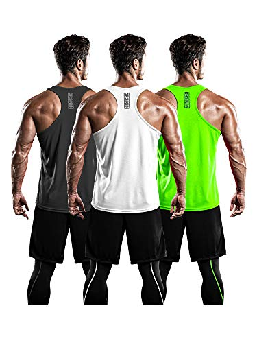 DRSKIN Men's 3 Pack Dry Fit Y-Back Muscle Tank Tops Mesh Sleeveless Gym Bodybuilding Training Athletic Workout Cool Shirts