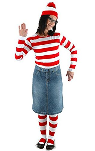 Where Wally Costumes (HBMaida Women's Where's Waldo Adult Costume Kit)