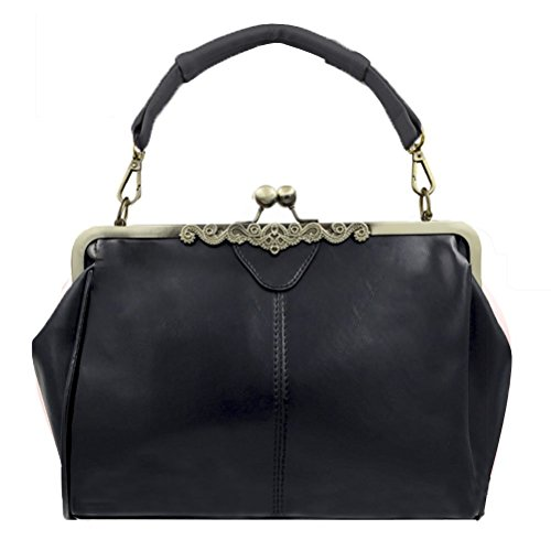 Abuyall Women Vintage Pu Leather Kiss Lock Shoulder Purse Handbag Tote Bags A ()