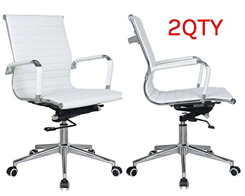 (Classic Replica mid Back Office Chair - stabilizing Swivel bar and Knee tilt with tensioner knob (White, Pack of 2))