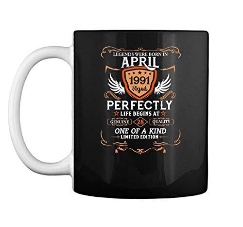 April 1991 28th Birthday Gift 28 Year Old For Men Women Mug Coffee Mug (White, 11 oz)