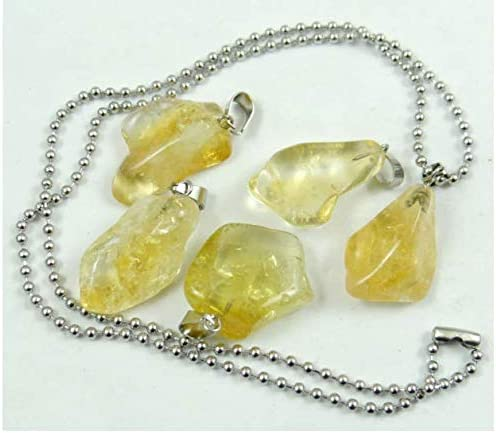 Natural Polished Rock Raw Yellow Citrine Pendant Necklace 20 gift wrapped with presentation card