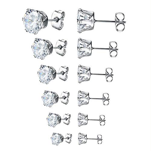 Adeser Jewelry Womens Stainless Steel Round Studs Earrings Clear Cubic Zirconia Stud Earring Sterling Silver Earrings needles for Women & Mens Ear Piercing (6 Pairs)