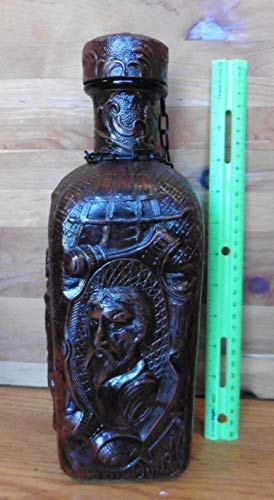 Genric Vintage Spain JEYPE Embossed Leather Wrapped Decanter Cognac Bottle Don Quijote