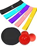 DVANIS Gliding Discs Core Sliders for Full Body Workout + Foot Massage Balls (Peanut, Spicky) for Deep Tissue Trigger Point + Resistance Loop Bands of 5 for Stretching,Yoga
