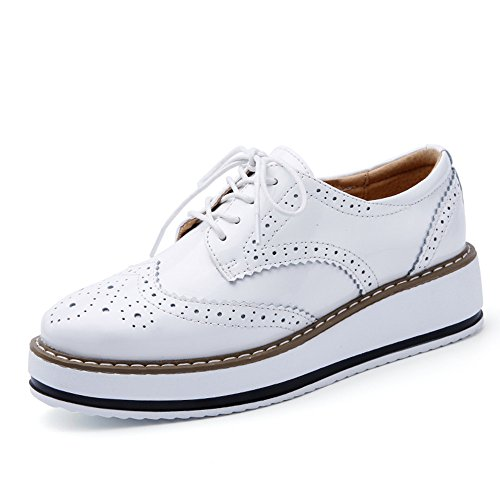 Negro Blanco Brogue Mujer CM de Plataforma para 4 5 Vestir Talón Zapatos Blanco Cordones SO1nZ