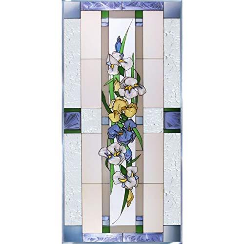 Iris Painted Glass Panel N-022