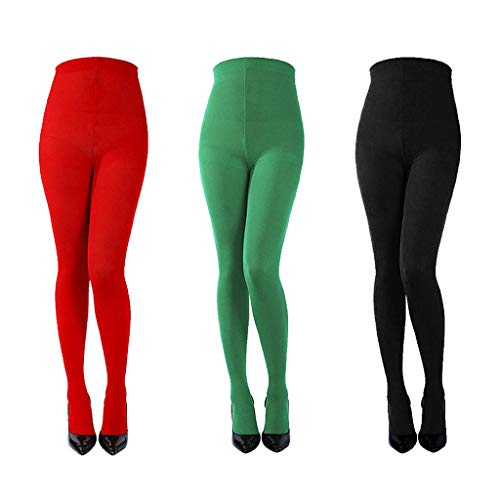 3 Pairs Women's Full Footed Panty Hose Leggings Tights Hosiery - Queen Size(Red, green, black) ()