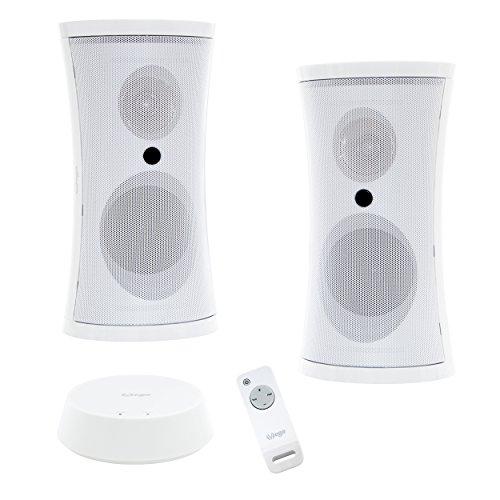 Exklusives VEGA Funk-Lautsprecher Set mit Fernbedienung und sattem Stereo Sound für drinnen & draußen (2x5W Sinus/100W PMPO/IPX3/100m Reichweite/Weiß)