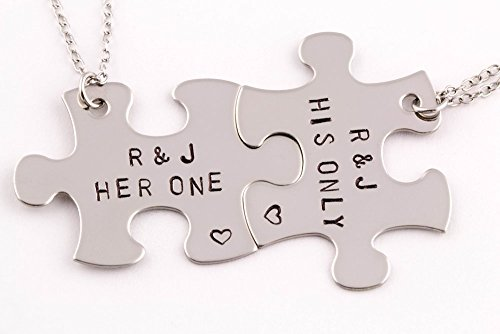 3f1efda727 Amazon.com: 2 Piece Personalized Her One His Only Interlocking Puzzle Piece Necklace  Set   Stainless Steel: Handmade