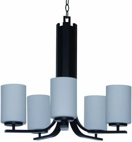 Yosemite Home Decor 1986-5U-EBZ 5-Light Chandelier with Dove White Glass from Panorama Trail Family, Ebony Bronze