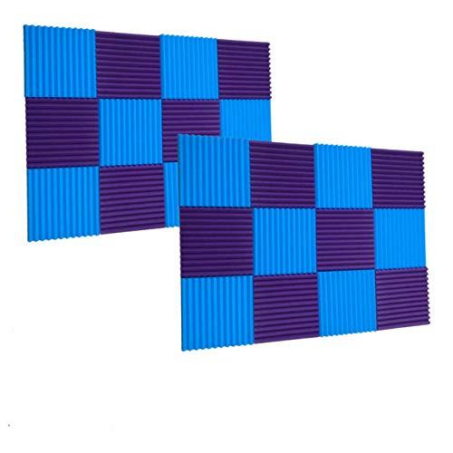 24 Pack Purple/Blue (12 Teeth) 1x12x12 acoustic foam sound absorption panels Soundproofing Foam Acoustic Tiles Studio Foam Sound Wedge