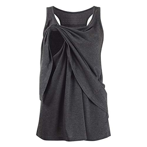 Iusun Women's Maternity Plus Size Dress Mom Nursing Wrap Double Layer Sleeveless Breastfeeding Blouse Pregnants Nightdress