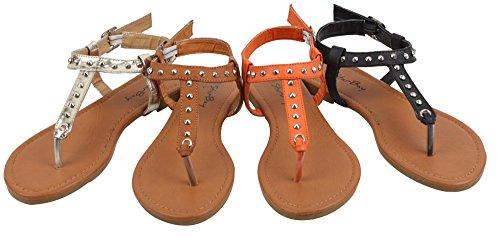 Dooballo Nuevas Sandalias Para Mujer Roman Gladiador Pisos T Correas Tangas Zapatos Para Mujer Medusa Y Eva Gold * 2202