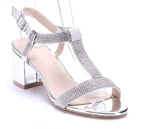 Schuhtempel24 Damen Schuhe Sandaletten Sandalen Blockabsatz Ziersteine 6 cm Silber