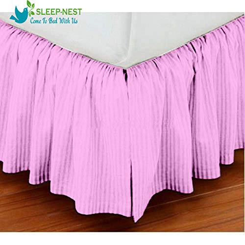 (Sleep-Nest Hotel Quality 600 TC Natural Cotton Twin XL Size 1-Pcs Split Corner Dust Ruffle Bed Skirt 18 Inch Drop Length Easy Fit, Wrinkle & Fade Resistant, Baby Pink Striped)