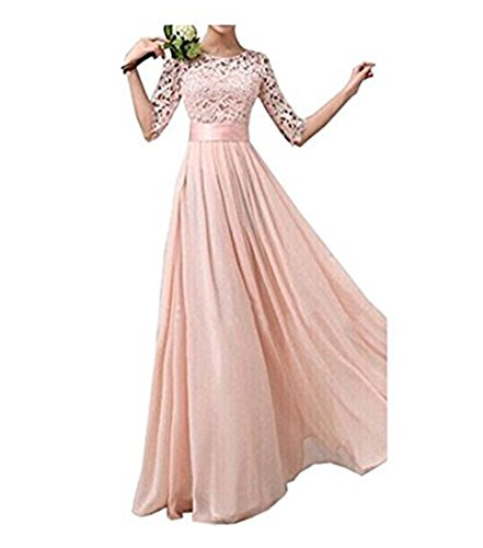 Jessica Lace Wedding Dress - Jessica CC Women' s Crochet Lace A-line Wedding Bridesmaid Maxi Chiffon Dress Formal Gown