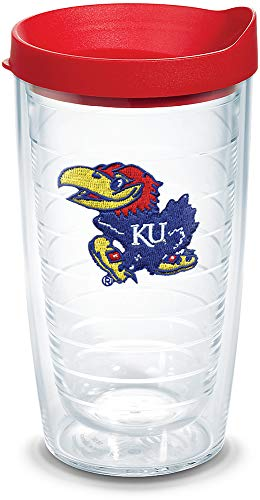 - Tervis 1058285 Kansas Jayhawks Logo Tumbler with Emblem and Red Lid 16oz, Clear