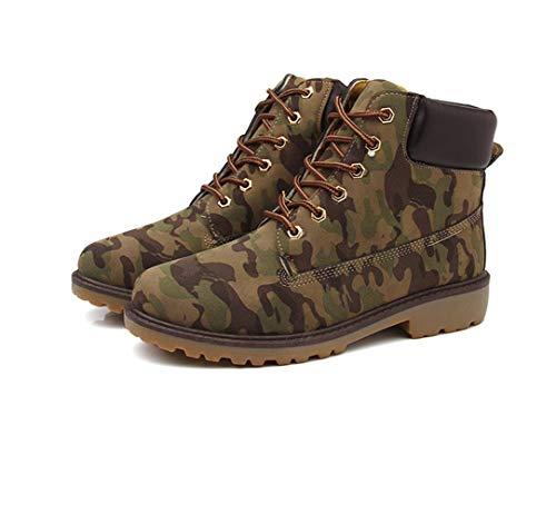 Stivali Anfibi Leather Trekking in Stivali da Lavoro Scarpe Boot da Pelle Stivali Uomo Verde ZZFRCwq0