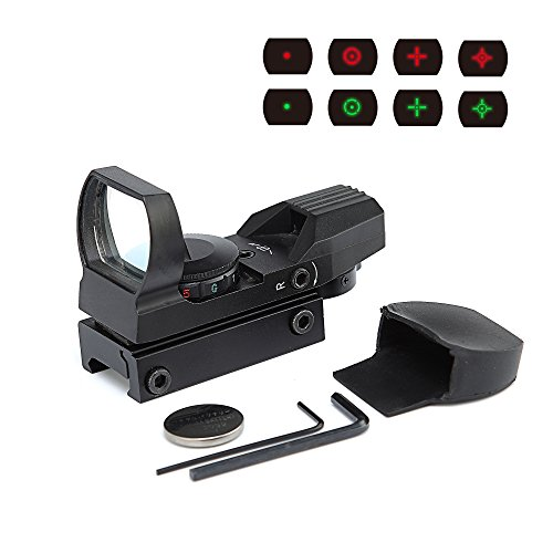 Red Dot Sight, 4 Reticle patterns Red Green Dot Scope HD101 Handgun Scope with Battery, Hardware Included, for Hunting, Telescope, Camera Using by WANGPAI