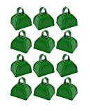 School Cowbells - Set of 12 Metal Cowbell Noisemakers (Select A Color) (Green)